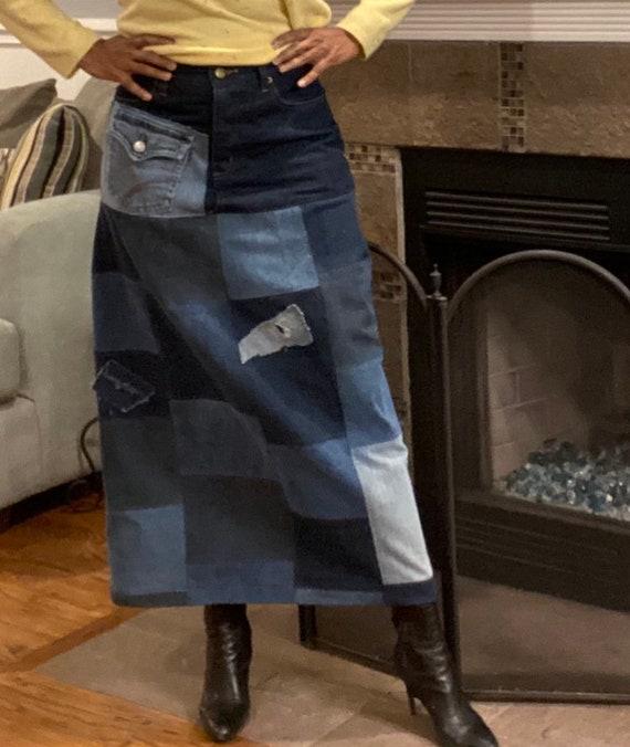 Upcycled Denim Patchwork Skirt Size 6
