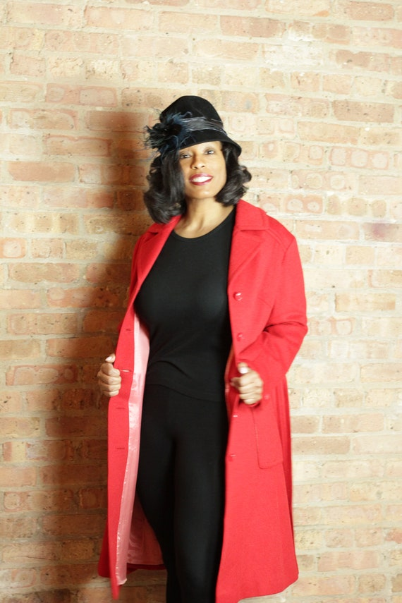 Vintage 60's Red Wool Coat with front pockets