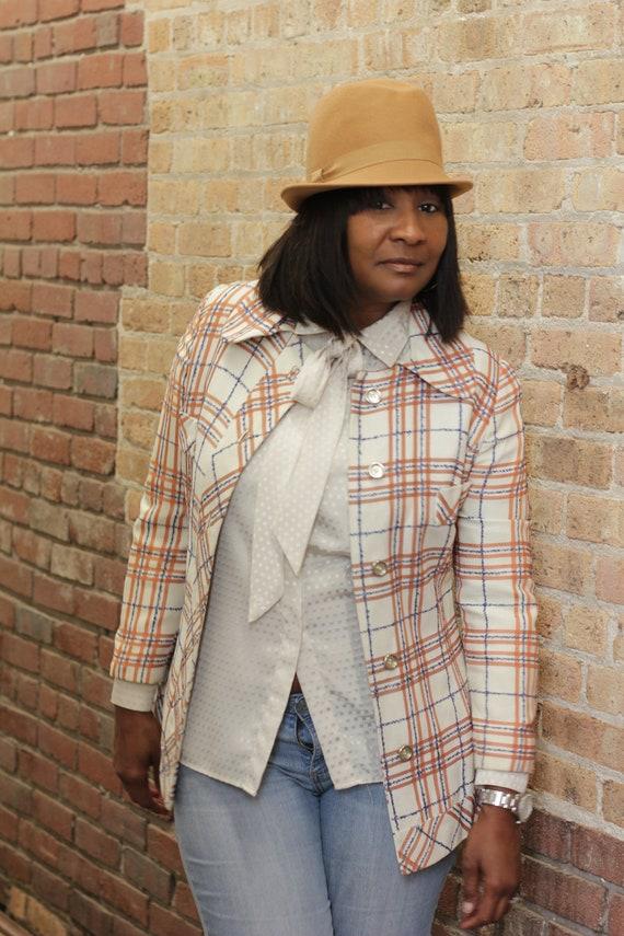 Vintage 70's cream plaid jacket