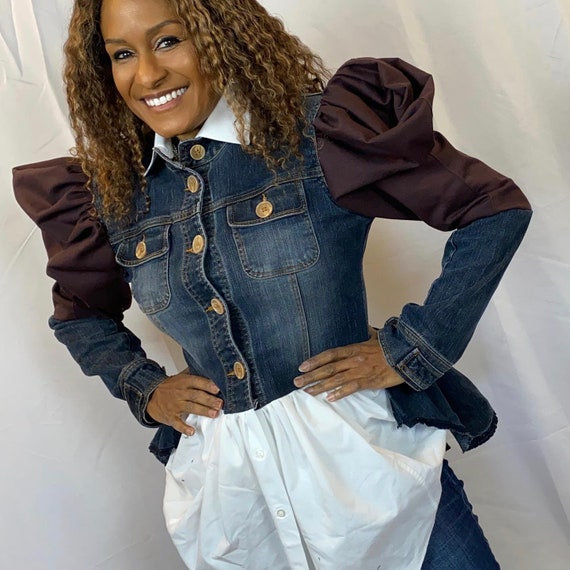 Upcycled denim jacket and white shirt accents with puff sleeves, white shirt upcycled (size Small 4-6)