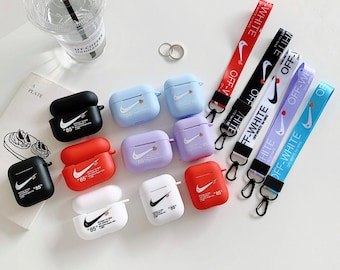 Nike Off White Inspired AirPod Case with Strap (Generations 1, 2, and Pro)