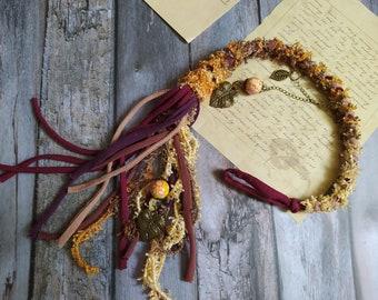 Lond brown Removable Dread wrap 50 cm   20 inch, Celtic Dreadlocks , Vegan dread wrap, Bohemian Hair, Witchy hair