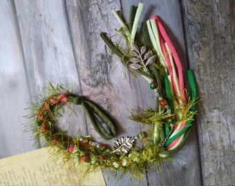 Green Removable Dread wrap 41 cm   17 inch, Celtic Dreadlocks , Vegan dread wrap, Bohemian Hair, Witchy hair