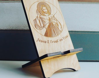 Divine Mercy phone stand, Jesus I trust in you phone stand, Faith phone stand, Catholic phone stand, Saint Faustina phone stand