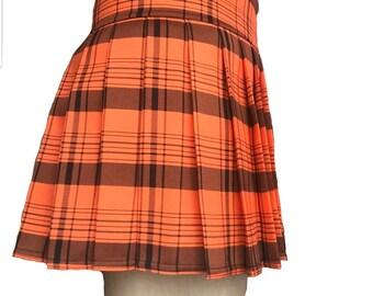 Vintage 1960/'s Orange Brown Plaid Skirt  A Line Wool  Schoolgirl Plaid  Size Small