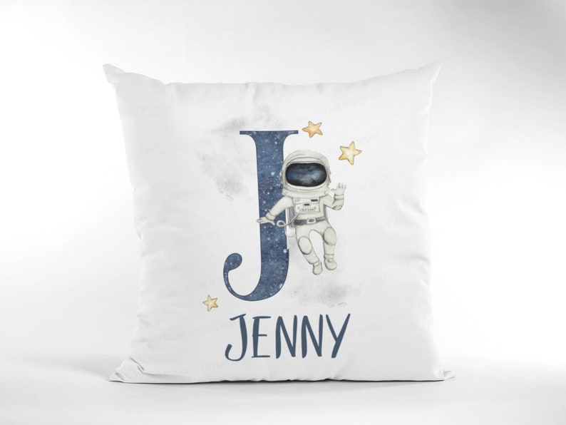 Children/'s Space Gift Alphabet Astronaut Pillow Personalised Space Girl Cushion