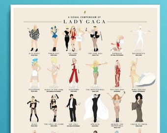 Lady Gaga Illustrated Poster Icon Pop Art Wall Art, Minimalist Art Print - Little Monster Chromatica - Gay Icon