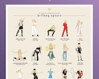 Britney Spears Illustrated Poster Fun Pop Art Wall Art, Girl Power Gift, Minimalist Art Print Free Britney Godney