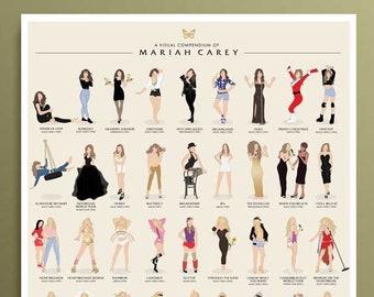 Mariah Carey Illustrated Poster *UPDATED & EXPANDED* MC30 Pop Art Wall Art, Girl Power Gift, Minimalist Art Print Lambily Mariah Fan Gift