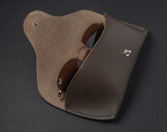 Personalized Leather Sunglass Case, Custom Sunglass Case Made in USA, Modern Christmas Gifts for Men or Women, Made in USA, Slim Case