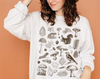 Vintage Forest Sweatshirt Goblincore Clothing Cottage Core Fall Sweatshirt Cottagecore Clothing Nature Sweater Mushroom Sweater Frog Sweater