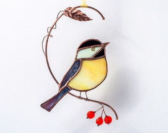 Chickadee stained glass birds with handmade beads on the branch Symbol of good luck!  Bird suncatcher  Window hangings  Porch hanging.
