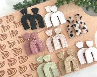 Polymer Clay Earrings | Neutral Arches | Lightweight | Statement Earring