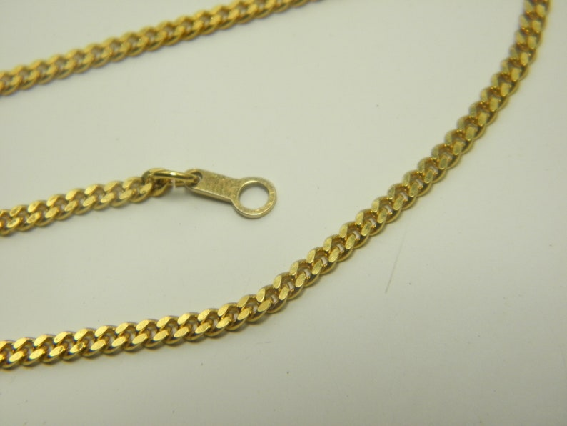 9ct Gold Square Curb Bracelet Vintage 7 Inch Solid 9k 375 Yellow Thick Chain