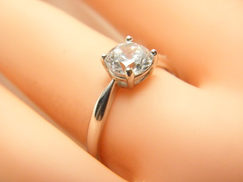 9ct Gold FX Diamond Ring Band Size N 6.75 Vintage Deco Solitaire Solid 9k 375 White Engagement