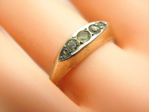 Victorian 9ct Yellow Gold on Silver Paste Set Marquise Cluster Ring size O