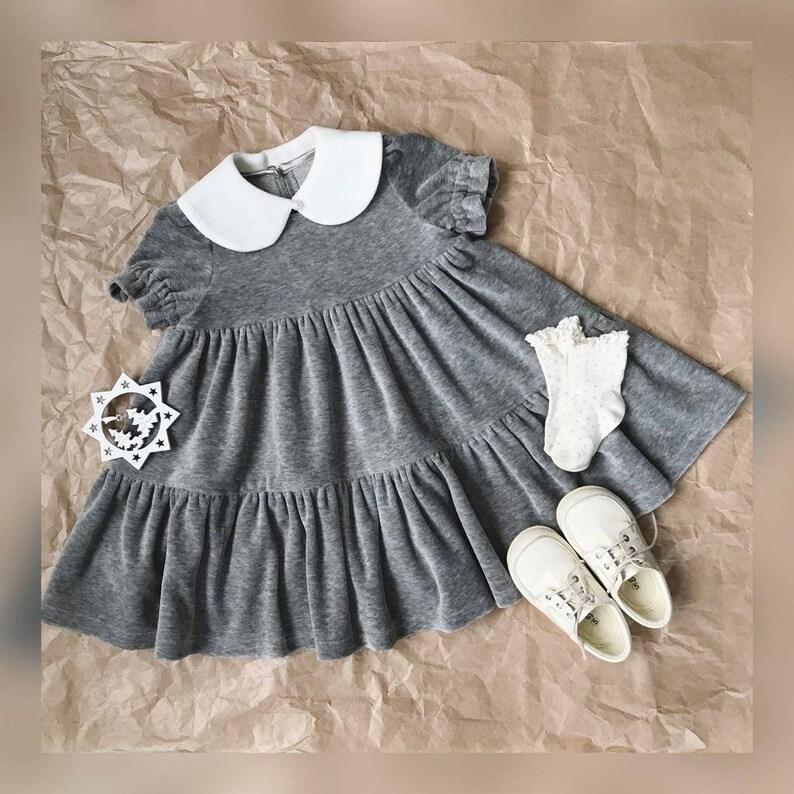 Mädchen Kleid grau samt Kleid Baby Mädchen Rüschen Kleid ...