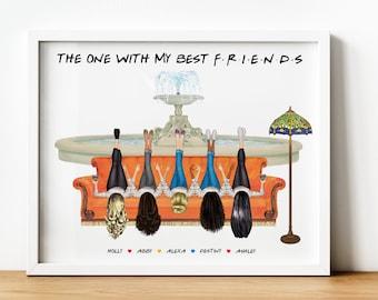 Four Best Friends Print, Three Friends Sitcom Gifts, Friends TVShow Gifts, Central Perk, Friends Watercolour Print, Fountain 2 3 4 5