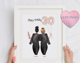 30th Birthday Gift For Her Friendship Print, 30th Birthday Gift For Sister, Best Friend Printable, Personalised Best Friend Print, Download