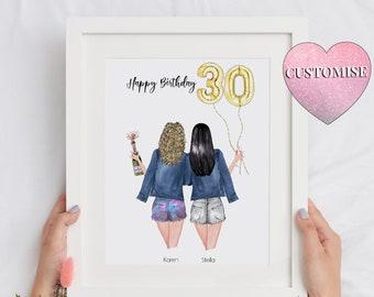 30th Birthday Gift For Her, Happy Birthday Best Friend Print, Best Friend 30th Gift, Best Friend 30 Print, 30th Birthday Print, Soul Sister
