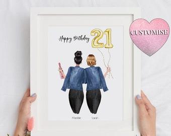 21st Birthday Gift For Her, 21st Birthday Gift For Best Friend, Gifts For Best Friend Female, Best Friend/Sister, Best Friend Happy Birthday