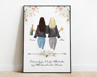 Best Friend Gift | Personalized Best Friends Gift | Friend Birthday Gift | Best Friend Picture | Bestie Gift | Best Friends Print | Sisters