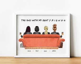4 Friends Gift, 4 Friends Personalised Print, F.R.I.E.N.D.S TVShow, Best Friend Printable, Friends The One Where, Friends TVShow Gifts,
