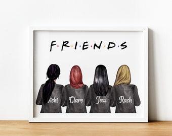 4 Friends Gift, 4 Friends Personalised Print, Best Friend, Friends TVShow, 4 Friends Personalised Print, Best Friend Printable, Central Perk
