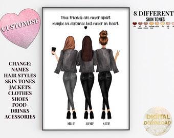 3 Best Friends Picture, Three Best Friends Gifts, Personalized Bestie Gift, Best Friend Printable, Best Friend Print, Soul Sisters Gift