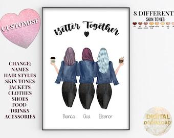 3 Soul Sisters, Best Friend Print, Best Friend/Sister, Three Soul Sisters, Unbiological Sister, Gifts For Best Friend Female, Personalised