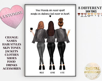 Best Friend Gift, Friend Present, 2, 3 or 4 Friend Group, Personalised Gift for Her, BFF Gift, Friendship Print, Letterbox Gift