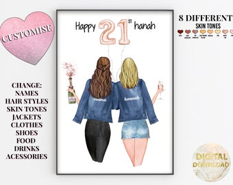 Best Friend Print | Best Friend Gift | Bestie Gifts | Friendship Quote | Personalised Print | Birthday Gift for Her | Gift for Friend