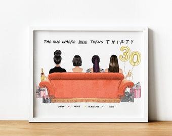 Friends The TVShow 30th Gift, The One Where Turns 30, 30th Birthday Gift For Her, Best Friend 30th Birthday Print, Best Friend Printable, 4