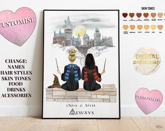 Custom Hogwarts Friend print gift - Harry Potter Family Print - Harry Potter birthday gift - Harry Potter gift - Hogwarts - Harry pottery