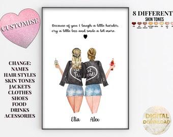 Best Friend Custom Print, Best Friend Print, Gifts For Best Friend Female, Best Friend Printable, Soul Sister Gift, Unbiological Sister Gift