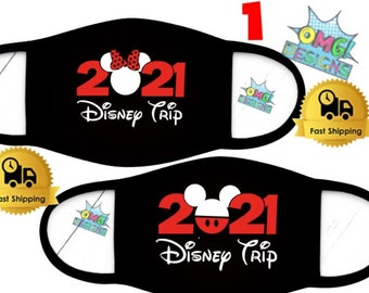 Disney Trip Face Mask, Disney Face Mask, Mickey Mouse Face Mask, Minnie Face Mask,  Custom Face Mask, Washable and Reusable Face Mask,