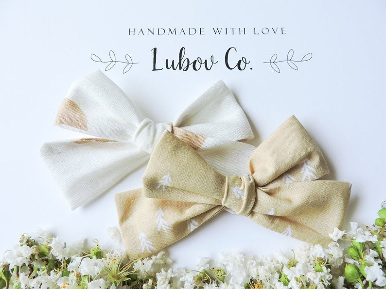 Hand tied Medium Sailor bows Linen Clip or Headband Cotton