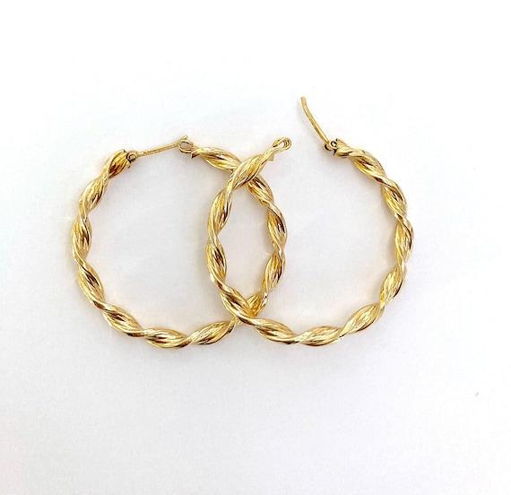 Large Hoop Lever back Earrings Gold tone Wide Vintage AR5