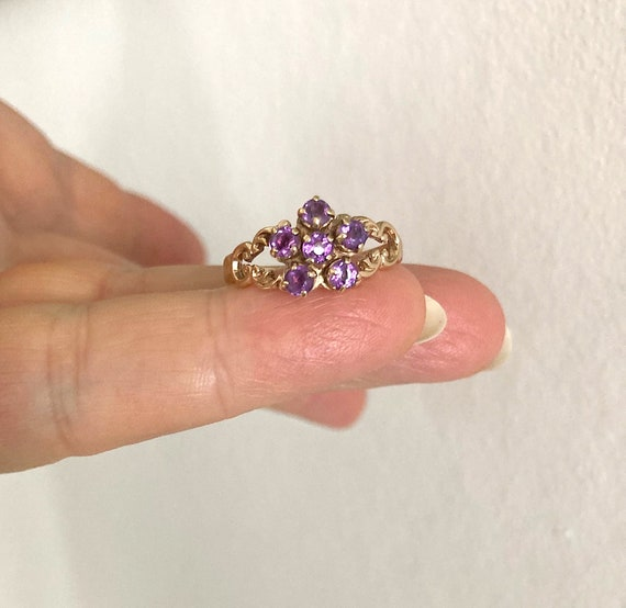 Lilac amethyst ring, vintage 9ct gold and amethyst