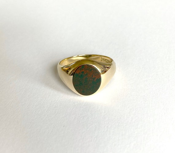 9ct gold Bloodstone signet ring, simple signet rin