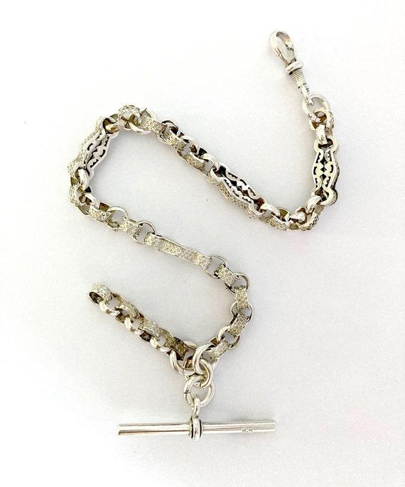 Silver watch chain, original Victorian watch chain