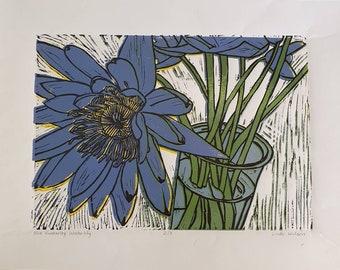 Kimberley Waterlily reduction linocut print