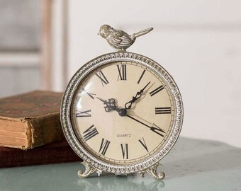 Perched Songbird Tabletop Clock | Vintage Desktop Clock | Metal Clock | Decorative Clock | Home Office Tabletop Desk Decor | CTW278