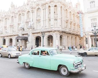 Havana, Cuba Photography - Hotel Inglaterra - European Architecture, Fine Art Photograph, Urban Home Decor, Large Wall Art, Classic Car