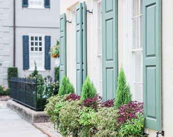 Charleston, South Carolina Photography - Window Boxes and Shutters - Architecture Fine Art Photograph, Home Decor, Large Wall Art, Historic