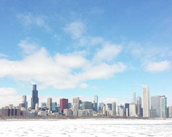 Chicago Photography - Cold and Sunny Chicago - Architecture Fine Art Photograph, Lake Michigan, Urban Home Decor, Large Wall Art, Print