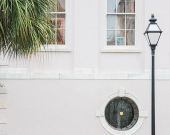 Charleston, South Carolina Photography - Gas Lamppost and Palmetto - Architecture Fine Art Photograph, Palm Tree, Home Decor, Large Wall Art