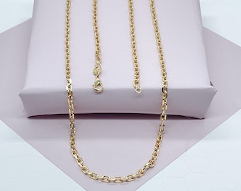 18k Gold Filled Cable Link Chain 3mm Necklace For Wholesale And Jewelry Supplies