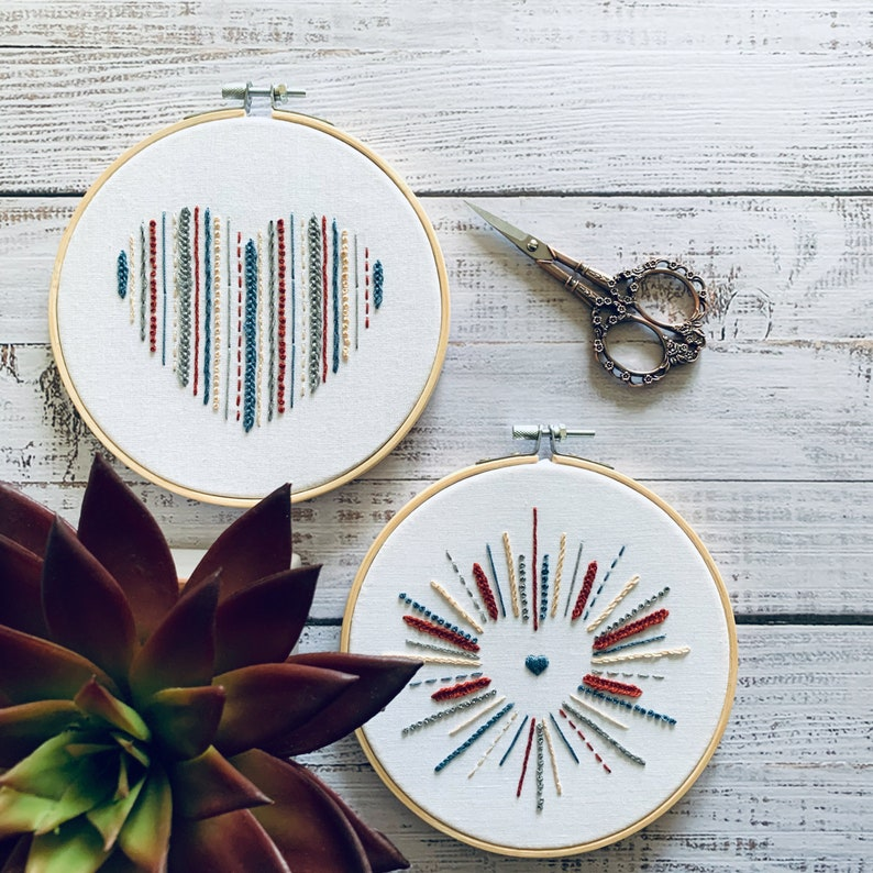 2-Design Love Heart Digital Embroidery Pattern and Instruction Booklet Stress Relief Beginner Hand Embroidery Project Love Heart Hoop Art