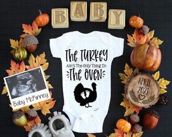 Fall Digital Pregnancy Announcement | Personalized Fall Baby Social Media Pregnancy Announcement | Custom Turkey Ain't The Only In The Oven